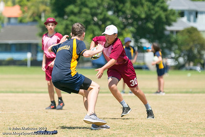 Images of the game between Sylvia Park (maroon) and Parnell (yellow) at the Eastern Zone Touch Tournament for boys, girls and mixed grades held at Madills Farm, Kohimarama, Auckland on 5 November 2019. Copyright: John Mathews 2019.   www.megasportmedia.co.nz