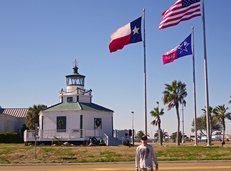 """Boondog in Texas. The Halfmoon Reef Lighthouse still welcomes visitors to Port Lavaca. However, having been moved ashore from its perch above the waters of Matagorda Bay, it now performs that function for travelers entering Port Lavaca from the east on Highway 35, rather than for mariners arriving from the gulf.  <a href=""""http://www.lighthousefriends.com"""">http://www.lighthousefriends.com</a> TX-portlavacaLH_09jan2010-211"""