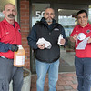 Leominster Housing Authority's director of Facility's Gerson Cintron, center, dropped of some masks, some disinfectant cleaner and hand sanitizer to the Fitchburg Housing Authority's building at 50 Day Street in Fitchburg, March 30, 2020. Receiving the stuff to help with the coronavirus is the building's Maintenance Mechanic Marc Cunningham, on left, and Modernization Coordinator Jose Lopez. SENTINEL & ENTERPRISE/JOHN LOVE