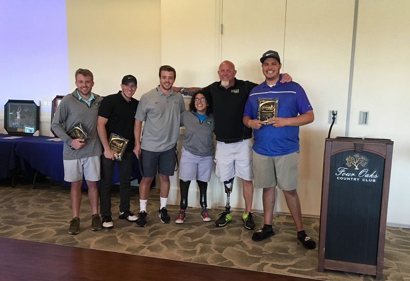 Winners of Golf Day — from left, Matt Tierney of Bedford, N.H., Tim Trudel of Salem, N.H., Drew Sanborn of Amherst, N.H., 50 Legs recipient Olivia Peace of Pelham, founder Steve Chamberland of Tampa, Fla., and Clayton Jimerson of San Diego, Calif.