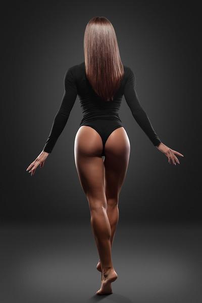 Beautiful woman in black bikini