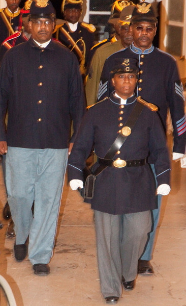 """Deputy Cmdr Michelle London-Marable, Founder of the Official Arizona Centennial Legacy 'Buffalo Soldiers of the Arizona Territory - Ladies and Gentlemen of the Regiment,' Headquarters Mesa, Arizona. (Authentic Buffalo Soldier Dress Uniforms, 1866 - 1902)<br /> <br /> 1st Annual Buffalo Soldiers Formal Dinner, Theme: """"LEST WE FORGET"""". October 17, 2009.  Mesa Historical Museum, Mesa, AZ."""