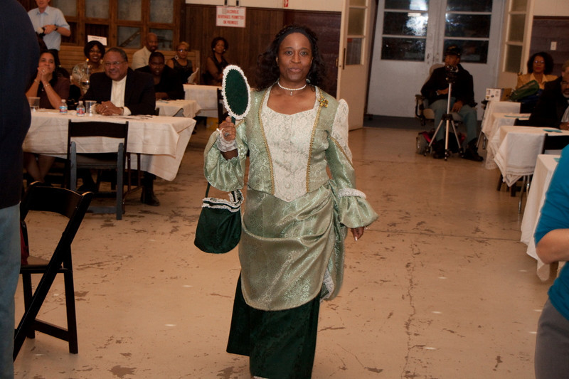 Deputy Cmdr. Michelle London-Marable (Dressed as a Lady of the Regiment, 1800s) after Posting of Colors at the 1st Annual Buffalo Soldiers Formal Ball Dinner, Mesa Historical Museum, Mesa, AZ - October 17, 2009.  Buffalo Soldiers of the Arizona Territory - Ladies and Gentlemen of the Regiment, Mesa.