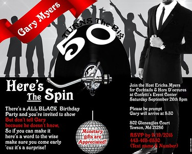 Gary Myers Turns The Big 50: Here's The Spin: @ Confetti Events 9.26.15