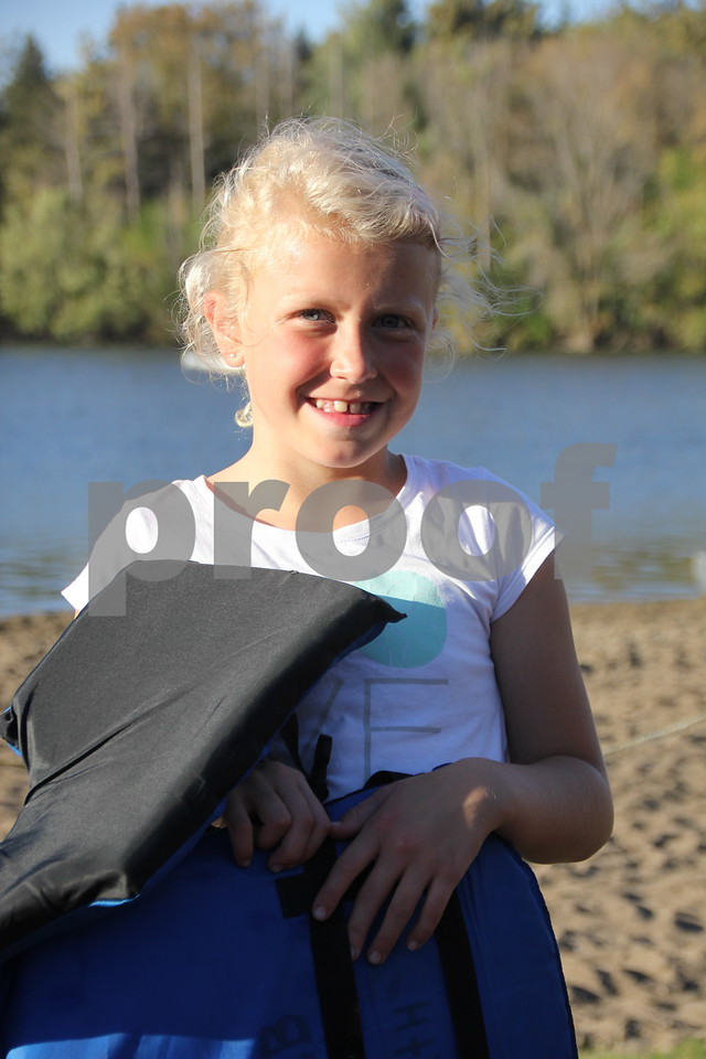 Seen here is: Gracie Rial , 8 years old, after she tried her luck at kayaking , which was just one of many activities for families attending the 50th Celebration for Kennedy Park and Trail held on Sunday, October 11, 2015. The event took place at Kennedy Park in Fort Dodge.