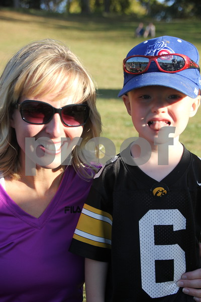 Lisa Flaherty(left) is pictured  here with Noah Flaherty (right) after taking a turn at  kayaking , which is just one of many activities for families attending the 50th Celebration for Kennedy Park and Trail held on Sunday, October 11, 2015. The event took place at Kennedy Park in Fort Dodge.