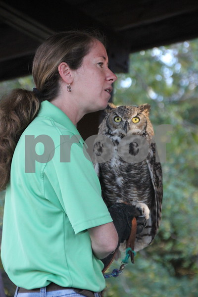 Pictured here is SOAR handler and volunteer, Laura Zaugg and a great horned owl named Stella, who is one of a few of the raptors that were part of the raptors education, which was just another one of many activities for families attending the 50th Celebration for Kennedy Park and Trail held on Sunday, October 11, 2015. The event took place at Kennedy Park in Fort Dodge.