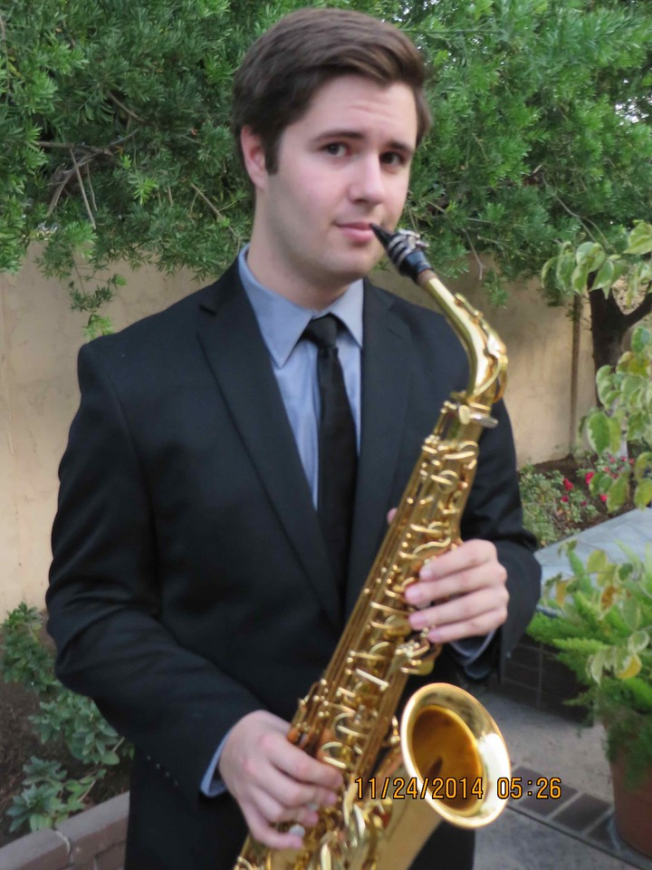 Pictures taken of Paul in our backyard for individual sax contest in Santa Barbara