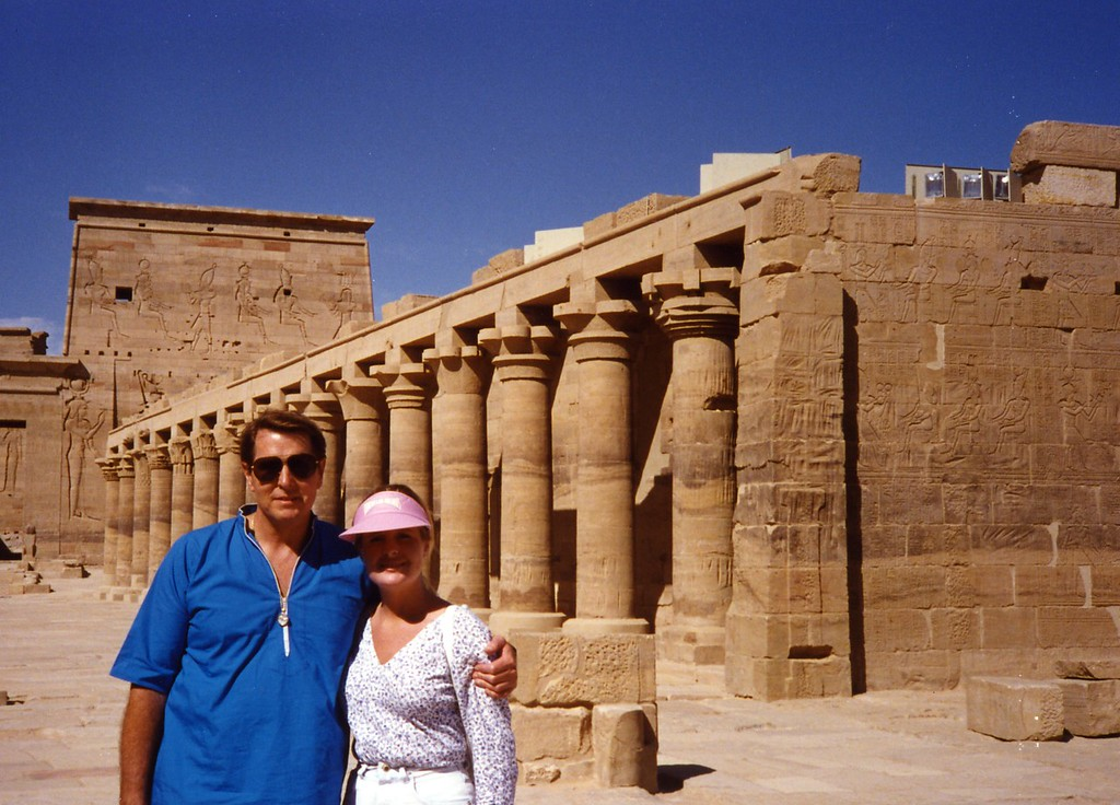 Tom with Lisa Hatshepsut Temple in Egypt