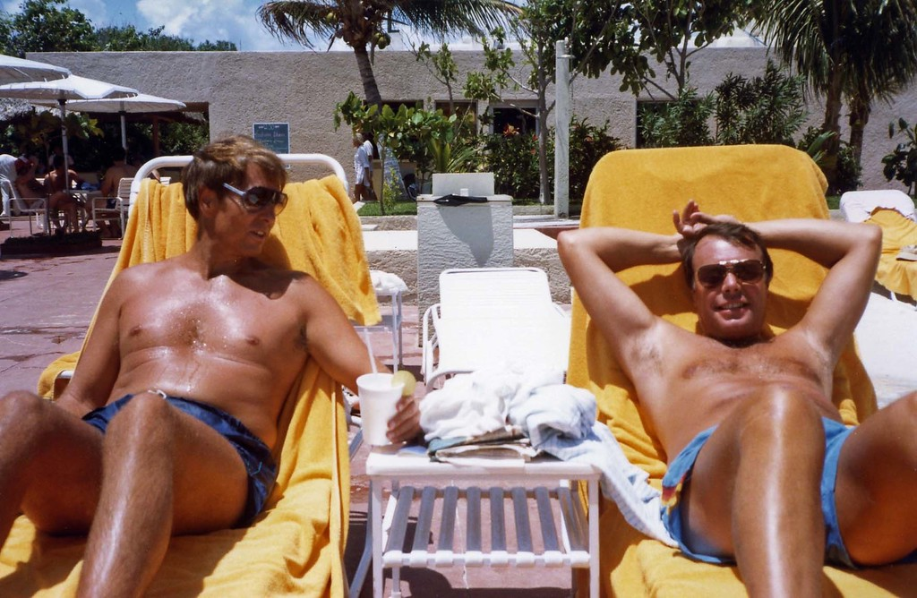 Lloyd and Tom relaxing poolside, Trip to Cazumel and Cancun, Mexico, August 20-27, 1983