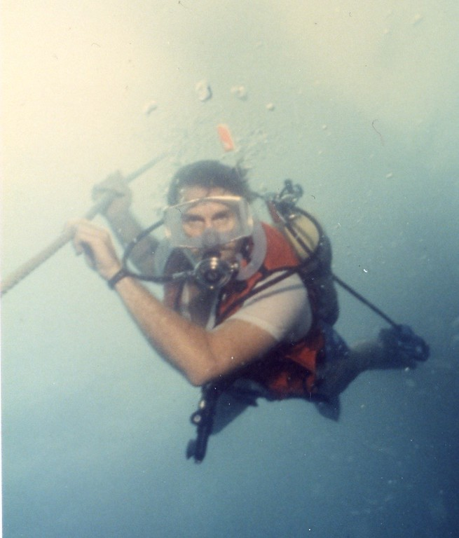 Tom spear fishing while scuba diving 1985