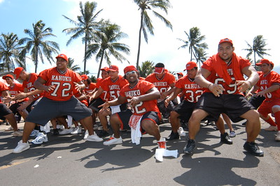 The Kahuku High football team joined the parade and shared their haka
