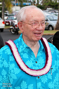 President Gordon B. Hinckley arrives for the PCC's 40th anniversary luau, October 2003