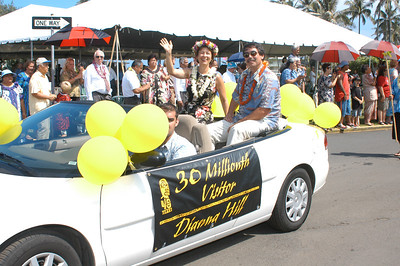 The 30-millionth visitor to the PCC is honored in the community parade.