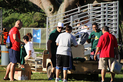 Getting ready for the PCC Sports Festival; Polynesian Cultural Center photo by Mike Foley