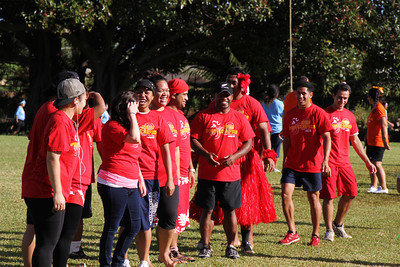 Red Village team members, lining up for the parade in the PCC Sports Festival; Polynesian Cultural Center photo by Mike Foley