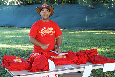 Andre Tauraa, getting ready for the PCC Sports Festival; Polynesian Cultural Center photo by Mike Foley