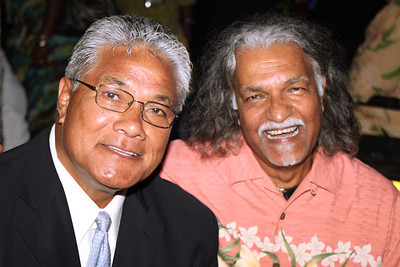Paula Tuitupou (?, left) and Dr. Abe Singh . . . at the Golden Jubilee Ball; Polynesian Cultural Center photo by Mike Foley