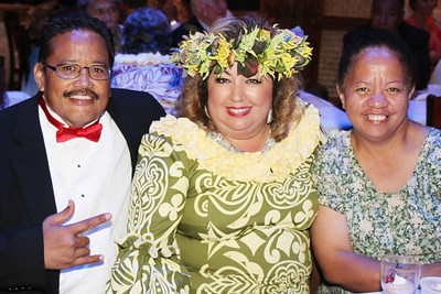 At the Golden Jubilee Ball (left-right): Elroy Kamae, Iwalani Nawahine and LaVerne Pukahi; Polynesian Cultural Center photo by Mike Foley