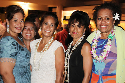 At the Golden Jubilee Ball (left-right): Leema Tufaga, Sherry Kahawaii, Tina Unga Fabiano, Verna Tonga and Selai Damuni Lesu; Polynesian Cultural Center photo by Mike Foley
