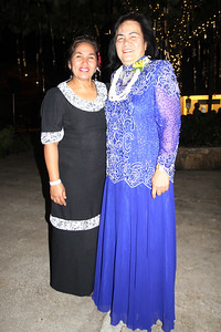 Losa Moors (left) and Ivy Apelu at the Golden Jubilee Ball; Polynesian Cultural Center photo by Mike Foley