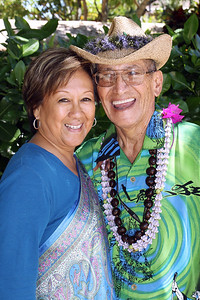 Carmen (left) and Dr. Ish Stagner II after the MPHS presentation: Carmen danced at the PCC in the early 60s, and Ish was a Polynesian Panorama performer; Polynesian Cultural Center photo by Mike Foley