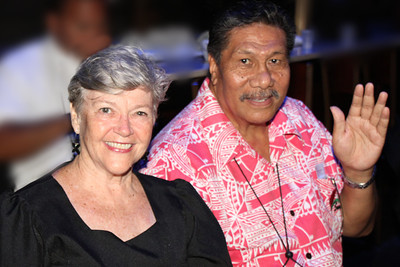 Beth McKinnon Hunt (left) and Tevaseu George Hunt came from Samoa for the 50th . . . at the Golden Jubilee Ball; Polynesian Cultural Center photo by Mike Foley