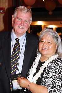 Chris (left) and Rokesa Gollan came from Australia for the PCC 50th . . . at the Ball; Polynesian Cultural Center photo by Mike Foley
