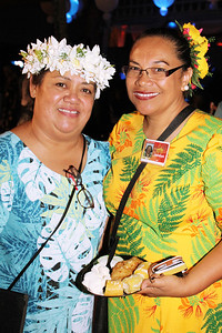 Peka Hikilau (left) and Jocelyn Lopez . . . at the Golden Jubilee Ball; Polynesian Cultural Center photo by Mike Foley