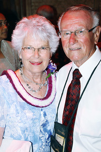 Former BYUH faculty members Linda (left) and Dr. Robert Goodwin at the Golden Jubilee Ball. Their grandson currently works at the PCC; Polynesian Cultural Center photo by Mike Foley