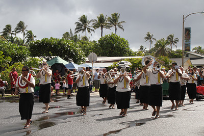 Justin Uale leads the PCC/BYUH Alumni Brass Band; Polynesian Cultural Center photo by Mike Foley