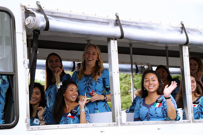 Laie Tram Tour sister missionaries; Polynesian Cultural Center photo by Mike Foley