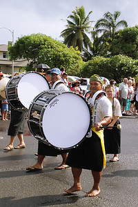 Alapati Manutai (?, left) and Kap Te'o-Tafiti handle bass drum duties with the PCC/BYUH Alumni Brass Band; Polynesian Cultural Center photo by Mike Foley