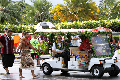 Elder Russell M. Nelson rides in the Polynesian Cultural Center's 50th Anniversary community parade on Saturday, September 7, 2013; PCC photo by Mike Foley