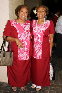 PCC alumnae Elenoa Tufuga (left) and Elevila Tufuga Bird, who came from California for the 50th Anniversary celebration, after the testimony meeting; Polynesian Cultural Center photo by Mike Foley