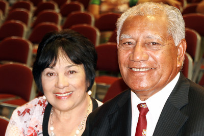 Waiting for the testimony meeting to start: early PCC alumni Sosaia Paongo (right) and his wife, Marie Nin Paongo, who came from their home in Utah for the 50th Anniversary celebration; Polynesian Cultural Center photo by Mike Foley
