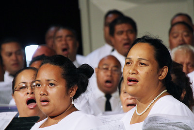 Tongan choir members sing at the testimony meeting; Polynesian Cultural Center photo by Mike Foley