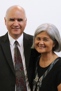 Elder Aley Auna, Area Authority for Hawaii, and his wife, Danelle who are PCC alumni), before the dedication of the new Heber J. Grant building at BYU–Hawaii; Polynesian Cultural Center photo by Mike Foley