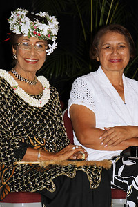 "Former PCC Board members Kalo Mataele Soukop (left), who was named a ""living treasure"" during the 50th Anniversary celebration, and Napua Kalama Baker; Polynesian Cultural Center photo by Mike Foley"