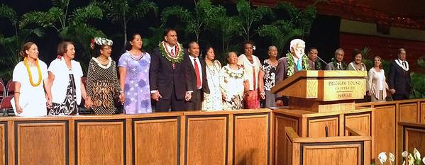 "Uncle Joe Ah Quin of Laie leads alumni and community members in singing ""Aloha 'Oe"" at the end of the testimony meeting that concluded the Polynesian Cultural Center's 50th Anniversary celebration from September 1–8, 2013; PCC photo by Mike Foley"