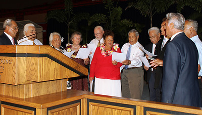 Former labor missionaries offer a prelude song before the testimony meeting; Polynesian Cultural Center photo by Mike Foley