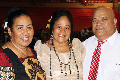 PCC Food & Beverage officer Fifita Unga (center) with Paula Muti (right) and his wife, Sisi Muti, who came from Tonga for the 50th Anniversary celebration; Polynesian Cultural Center photo by Mike Foley