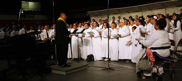 The Tongan choir, conducted by PCC alumnus Tevita Toafa, was asked to sing again for the testimony meeting; Polynesian Cultural Center photo by Mike Foley