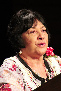 Early PCC alumna Marie Nin Paongo shares her testimony; Polynesian Cultural Center photo by Mike Foley