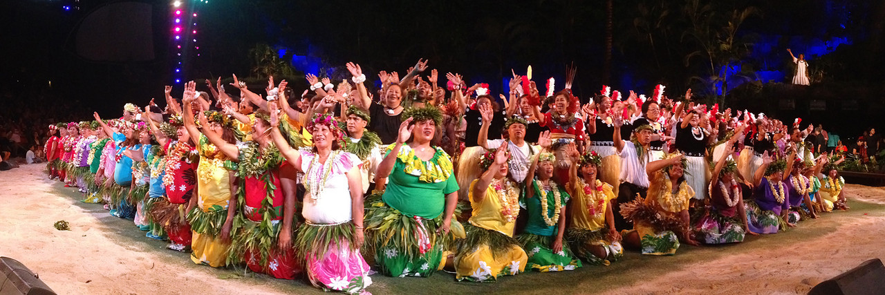 "The finale of the PCC ""gold"" alumni show; Polynesian Cultural Center photo by Mike Foley"