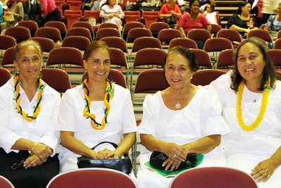 PCC alumnae waiting for the musical fireside to start (left-right): Carolyn Purcell, Dawnelle Ieremia, Therese Cummings and Evita Tovey; (Polynesian Cultural Center photo by Mike Foley)