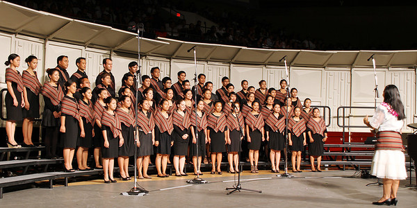 The Filipino choir, led by May Shumway, in the PCC 50th Anniversary musical fireside; (Polynesian Cultural Center photo by Mike Foley)