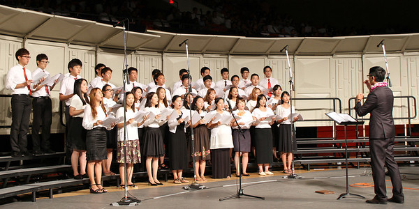 The Korean choir, in the PCC 50th Anniversary musical fireside; (Polynesian Cultural Center photo by Mike Foley)