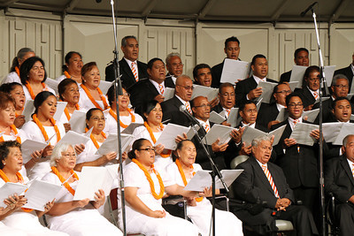 Samoan choir members in the PCC 50th Anniversary musical fireside; (Polynesian Cultural Center photo by Mike Foley)