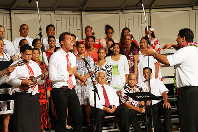 The Tahitian choir in the musical fireside; (Polynesian Cultural Center photo by Mike Foley)